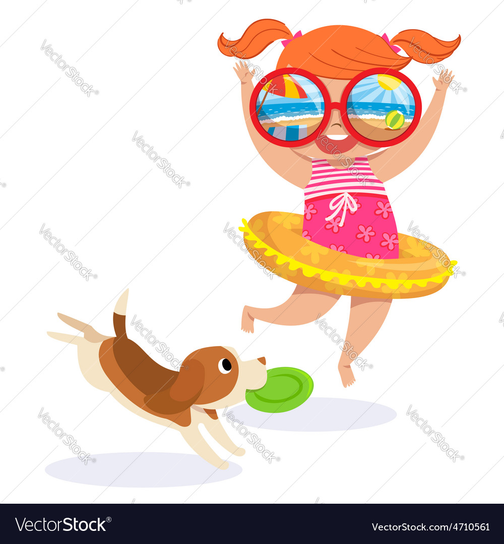 Little girl in swimming suit at the beach vector | Price: 1 Credit (USD $1)