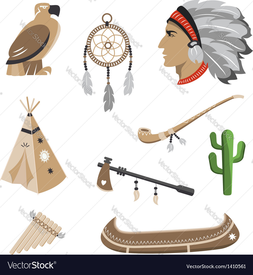 Native american indian icons vector | Price:  Credit (USD $)
