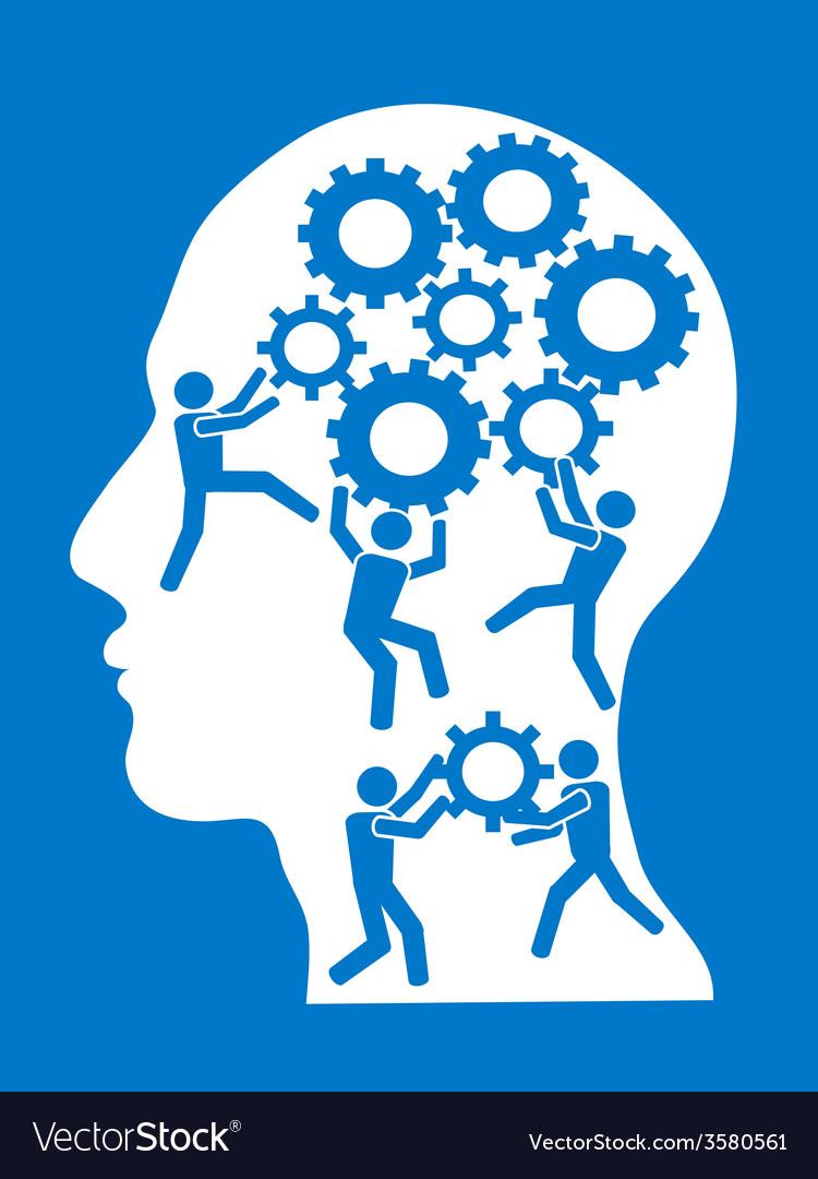 People working in gears brain vector | Price: 1 Credit (USD $1)