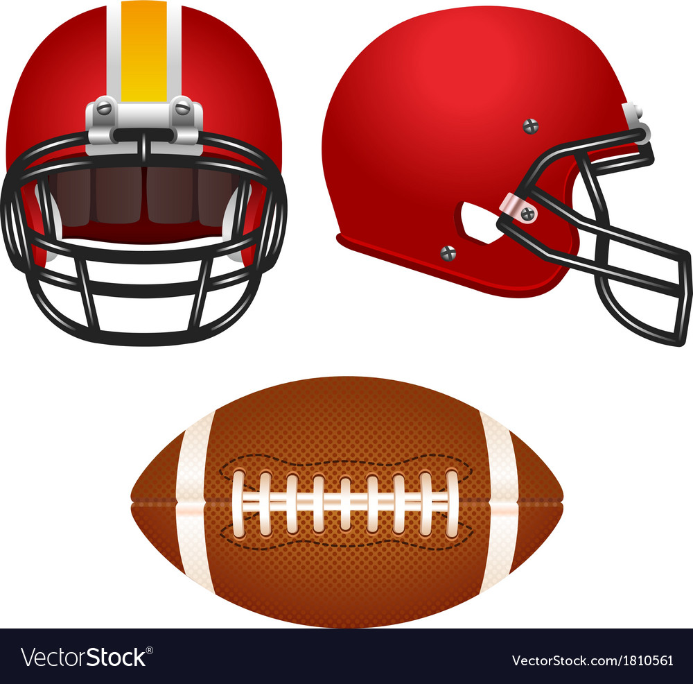 Red football helmet set vector | Price: 1 Credit (USD $1)