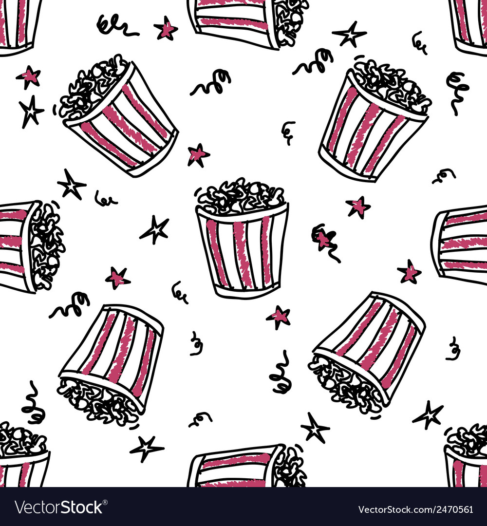 Seamless pattern with doodle pop corn backets vector | Price: 1 Credit (USD $1)