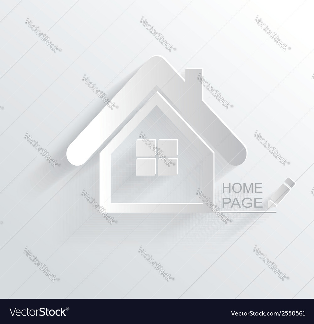 Symbol of house white paper origami home icon vector | Price: 1 Credit (USD $1)