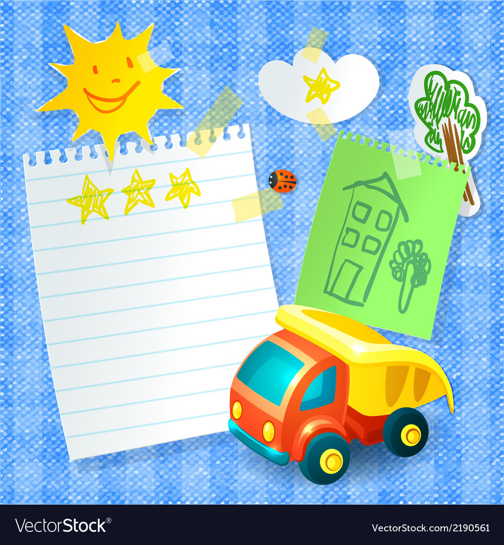 Toy truck paper postcard template vector | Price: 1 Credit (USD $1)