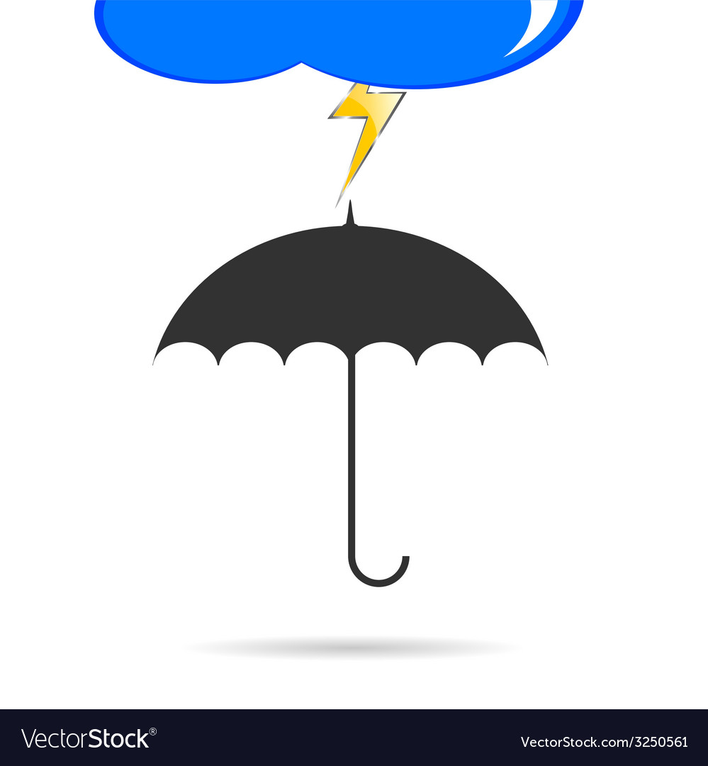 Umbrella with lightning color vector | Price: 1 Credit (USD $1)