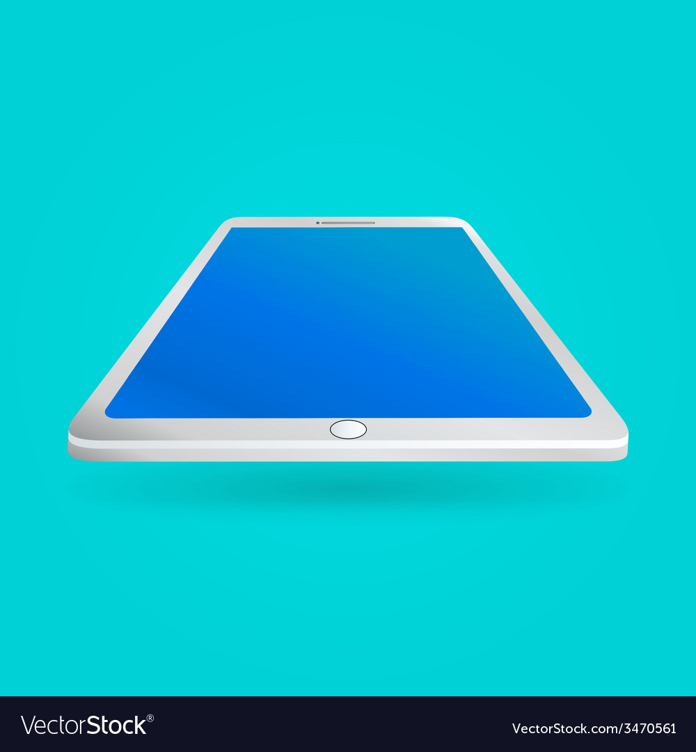 White tablet with empty screen isolated on blue vector | Price: 1 Credit (USD $1)