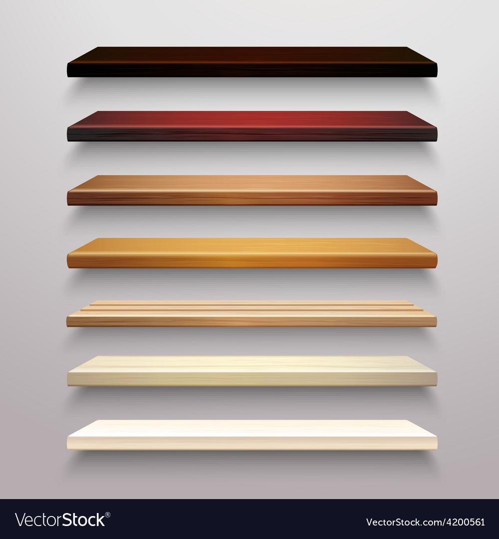 Wooden shelves set vector | Price: 1 Credit (USD $1)