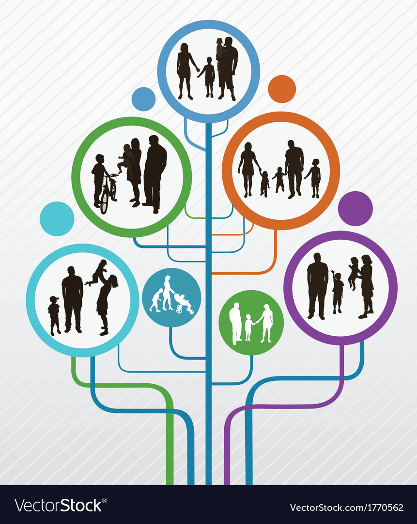 Abstract tree with family silhouettes vector | Price: 1 Credit (USD $1)