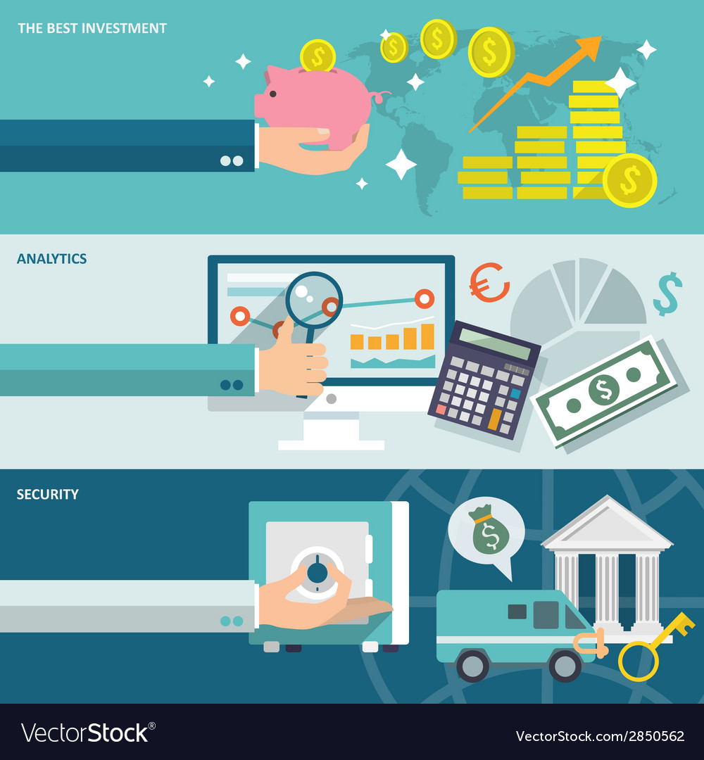 Bank service banners set vector   Price: 1 Credit (USD $1)