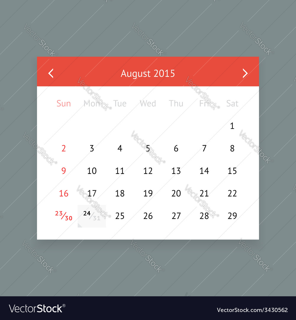 Calendar page for august 2015 vector | Price: 1 Credit (USD $1)