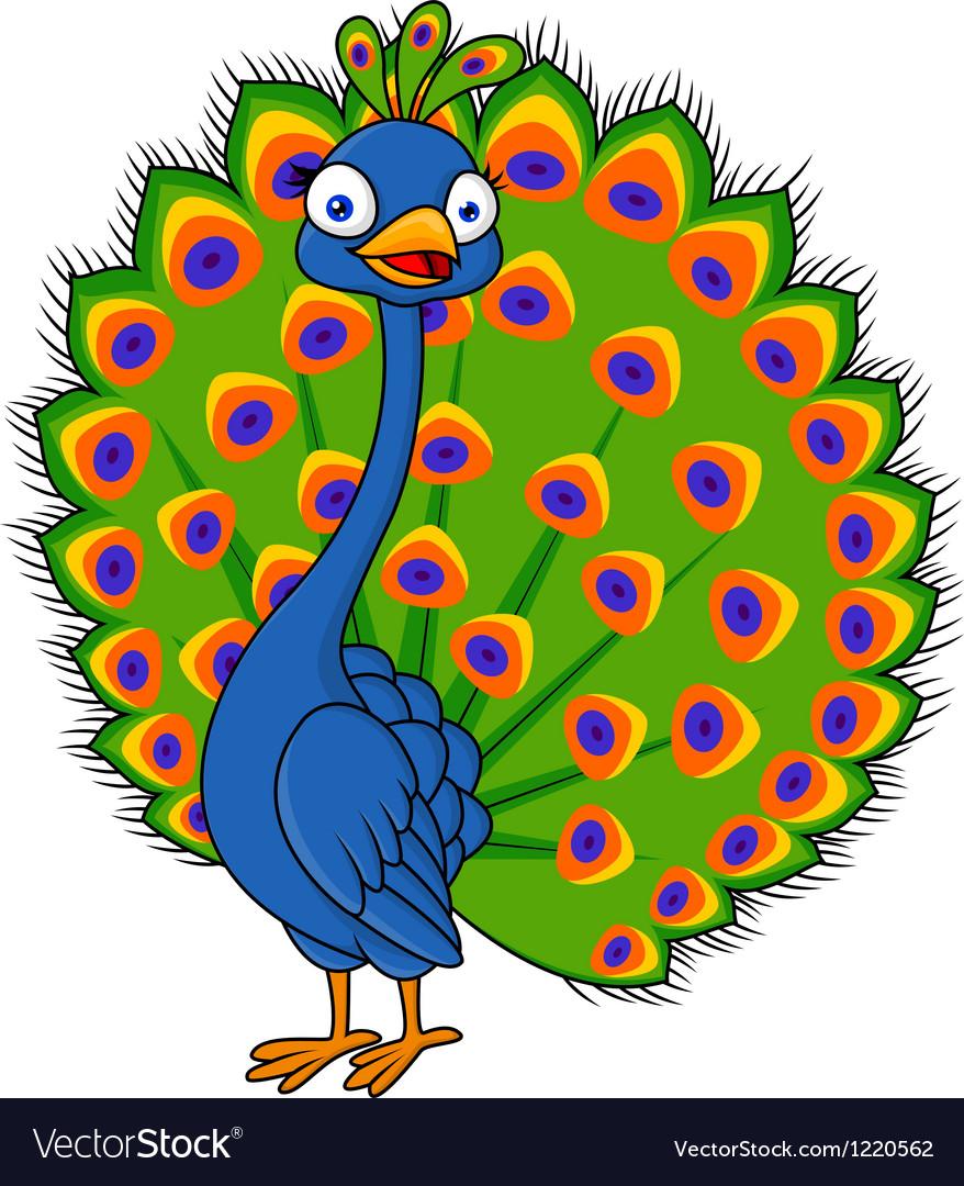 Cute peacock cartoon vector | Price: 1 Credit (USD $1)