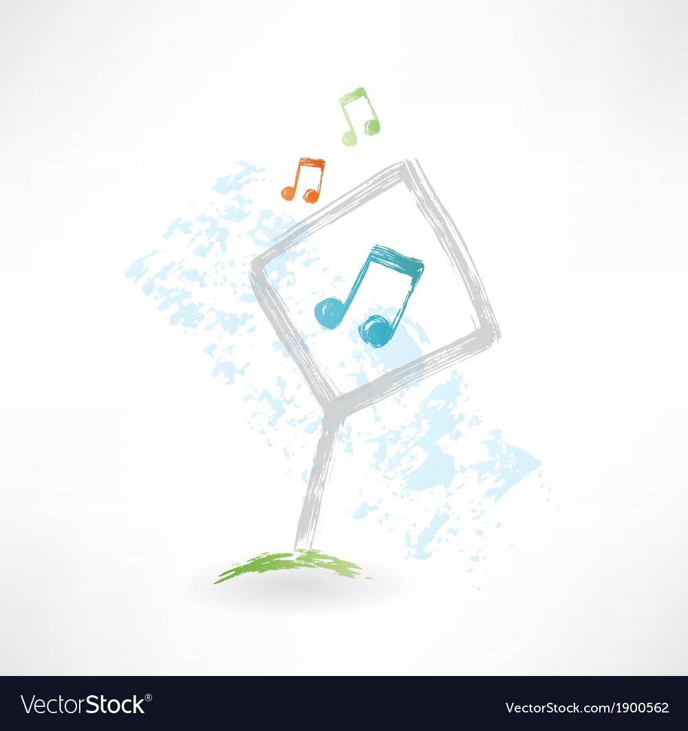 Plate music grunge icon vector | Price: 1 Credit (USD $1)