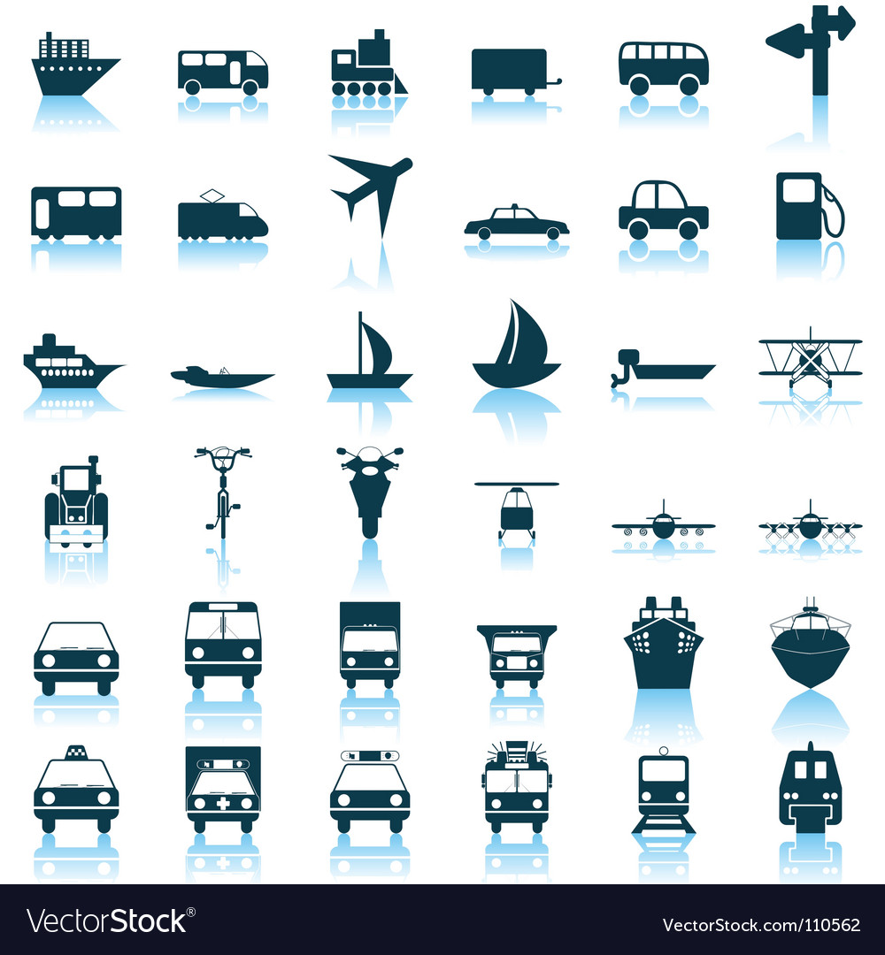 Transportation icons set vector | Price: 1 Credit (USD $1)