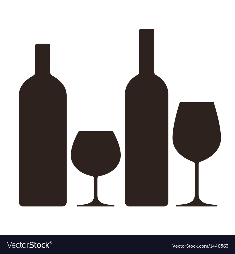 Bottles and glasses of alcohol vector | Price: 1 Credit (USD $1)