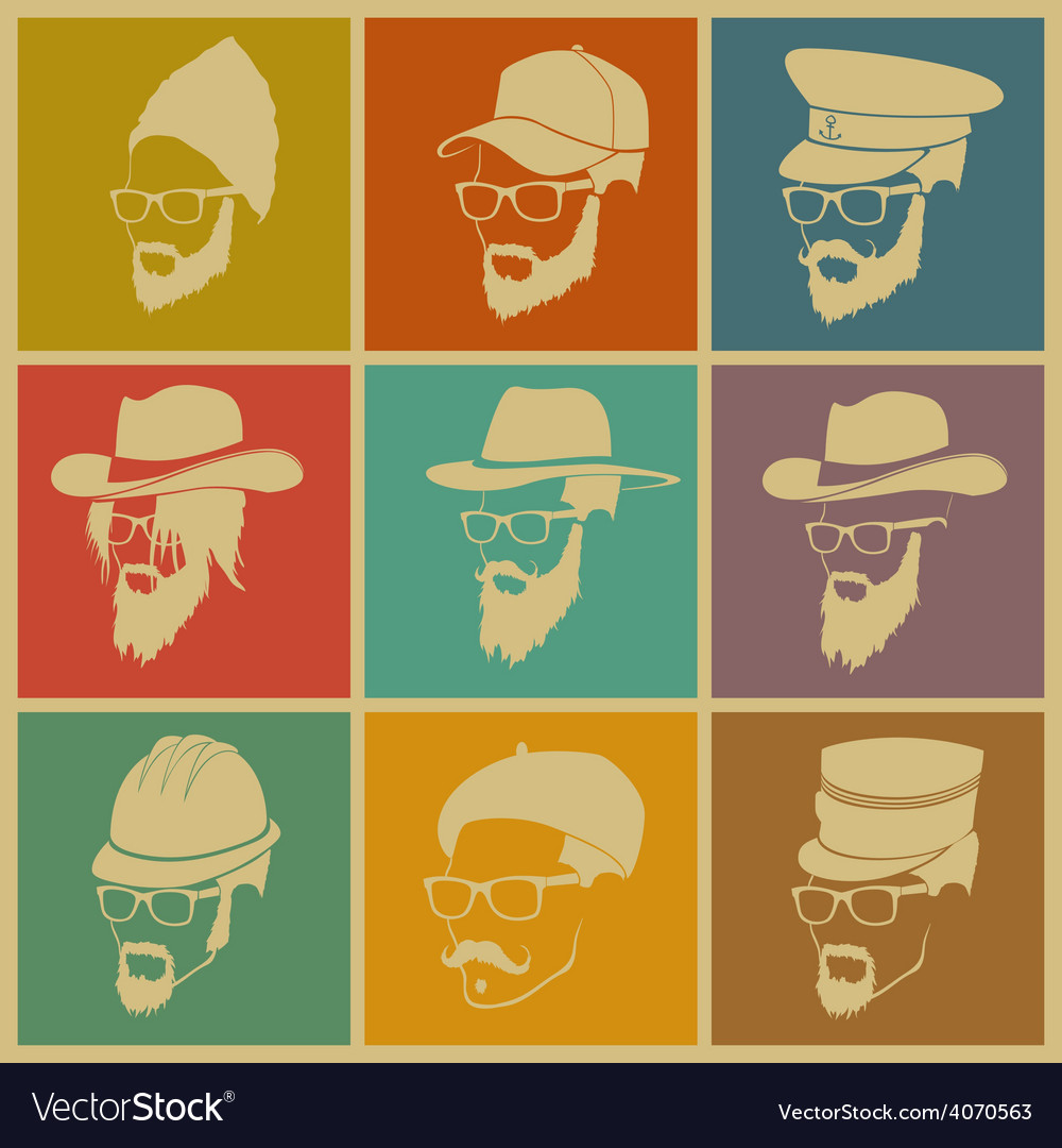 Colorful of icons of people in hats vector | Price: 1 Credit (USD $1)