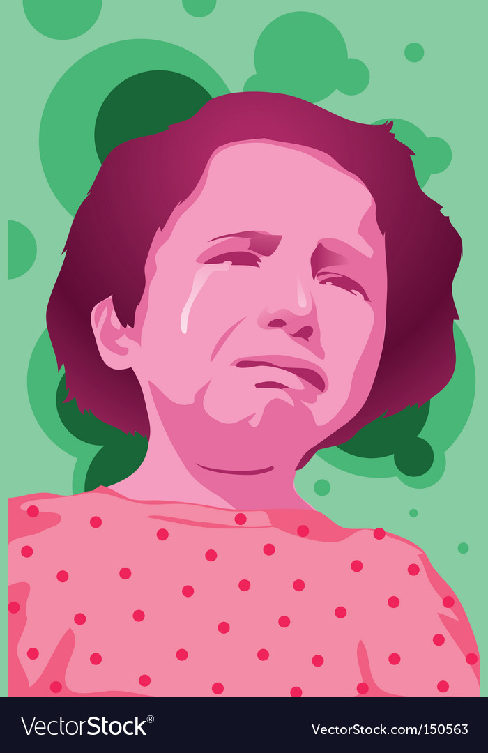 Girl cry vector | Price: 1 Credit (USD $1)