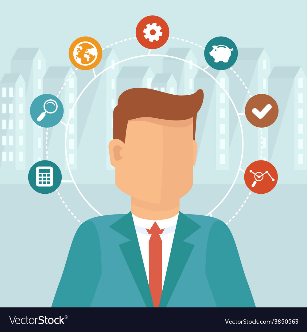 Manager concept in flat style vector | Price: 1 Credit (USD $1)