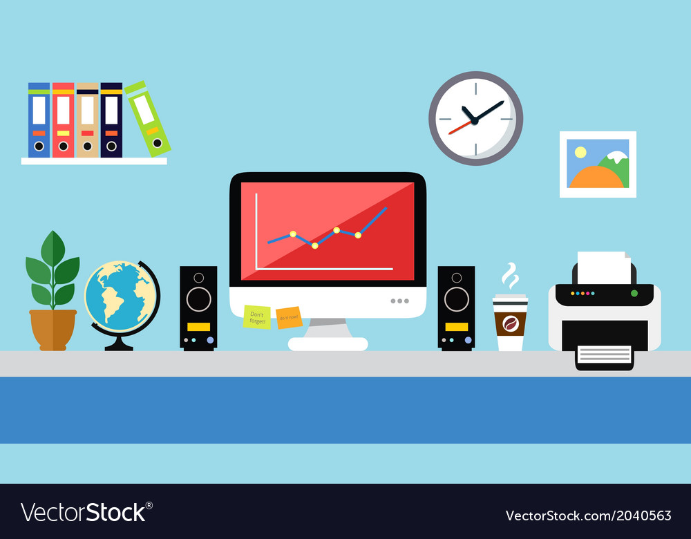 Office workstation design vector | Price: 1 Credit (USD $1)