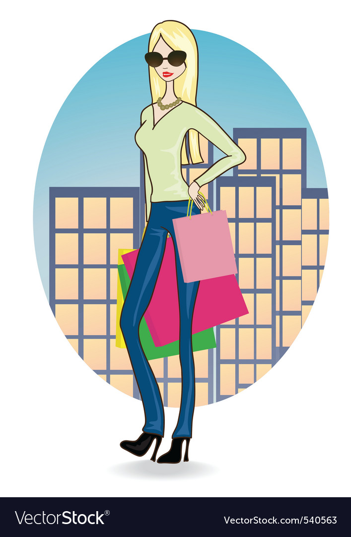 Shopping girl vector   Price: 1 Credit (USD $1)