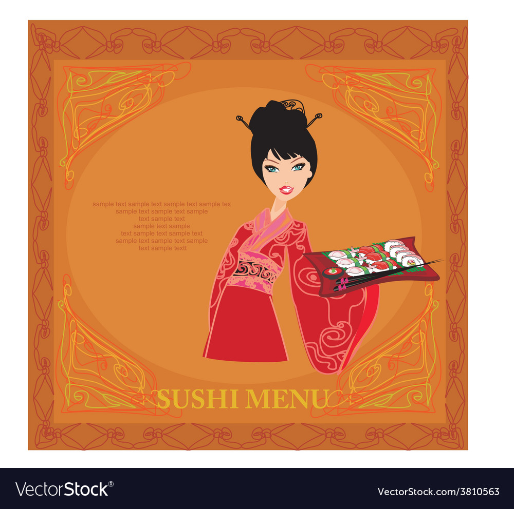 Sweet asian girl enjoy sushi card vector | Price: 1 Credit (USD $1)