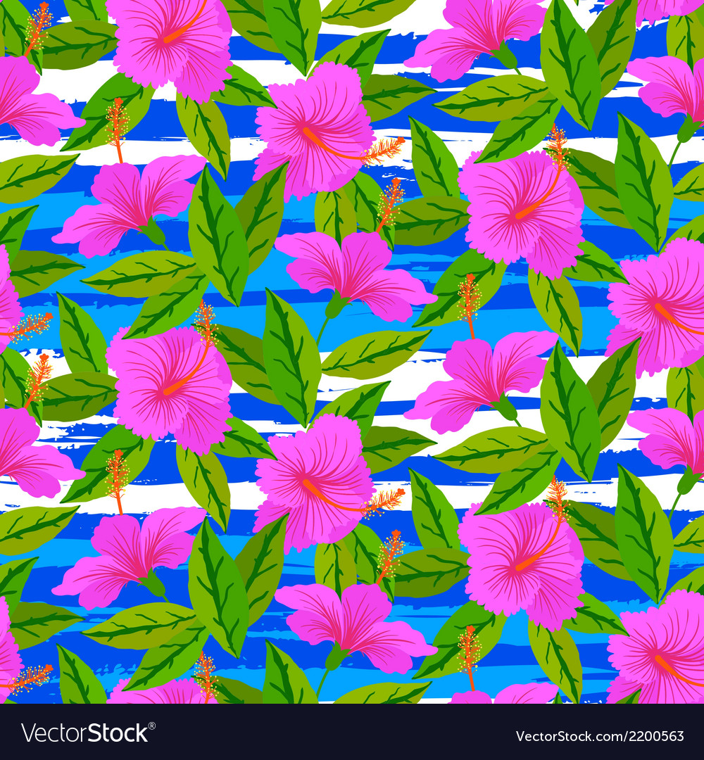 Tropical pattern with pink hibiscus flowers vector | Price: 1 Credit (USD $1)