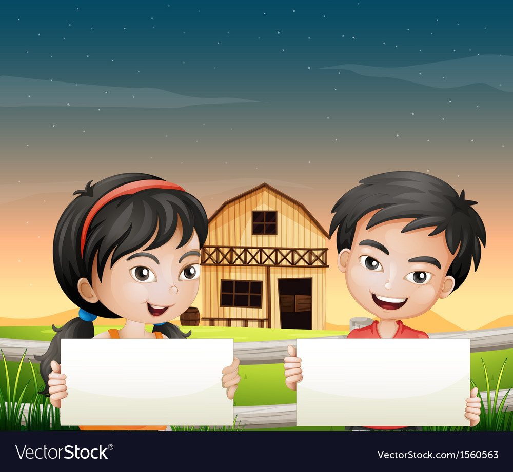 Two adorable kids with empty cardboards vector | Price: 3 Credit (USD $3)