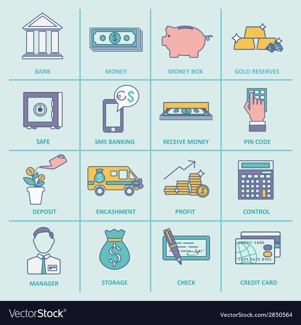 Bank service icons flat line vector | Price: 1 Credit (USD $1)
