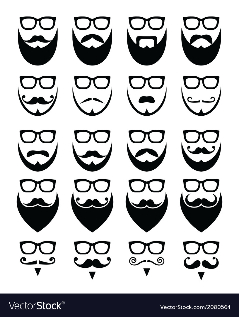 Beard and glasses hipster icons set vector | Price: 1 Credit (USD $1)