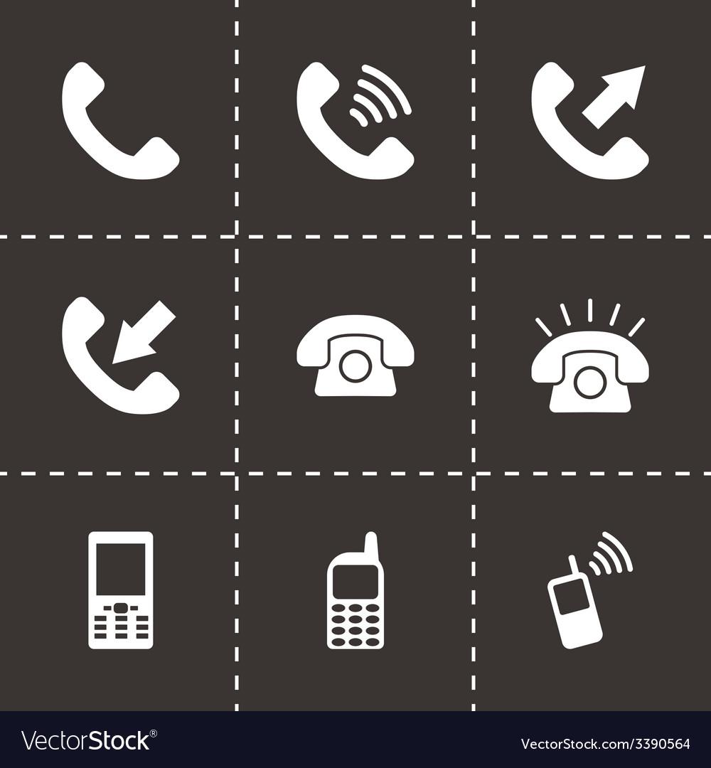 Black telephone icon set vector | Price: 1 Credit (USD $1)