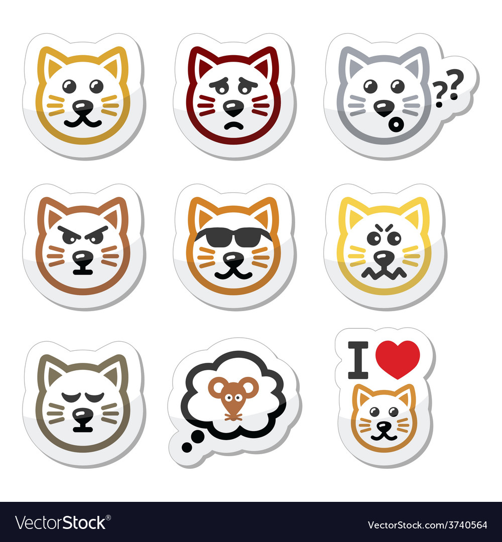 Cat labels set - happy sad angry isolated on whi vector | Price: 1 Credit (USD $1)