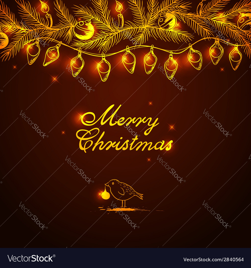 Christmas background with bird and decorations vector | Price: 1 Credit (USD $1)