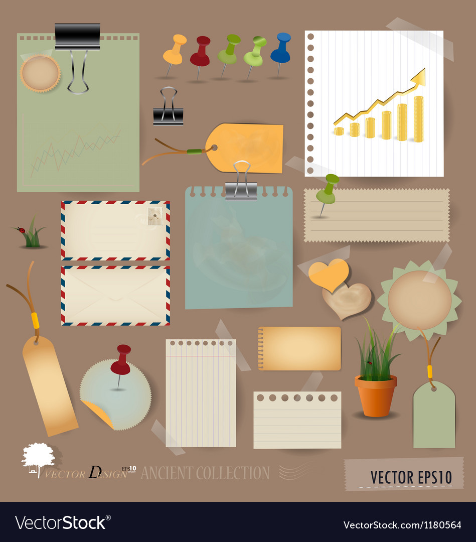 Collection of various note papers vector | Price: 1 Credit (USD $1)