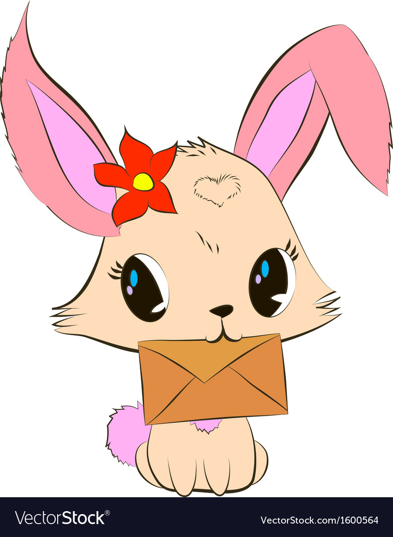 Cute bunny with envelope vector   Price: 1 Credit (USD $1)