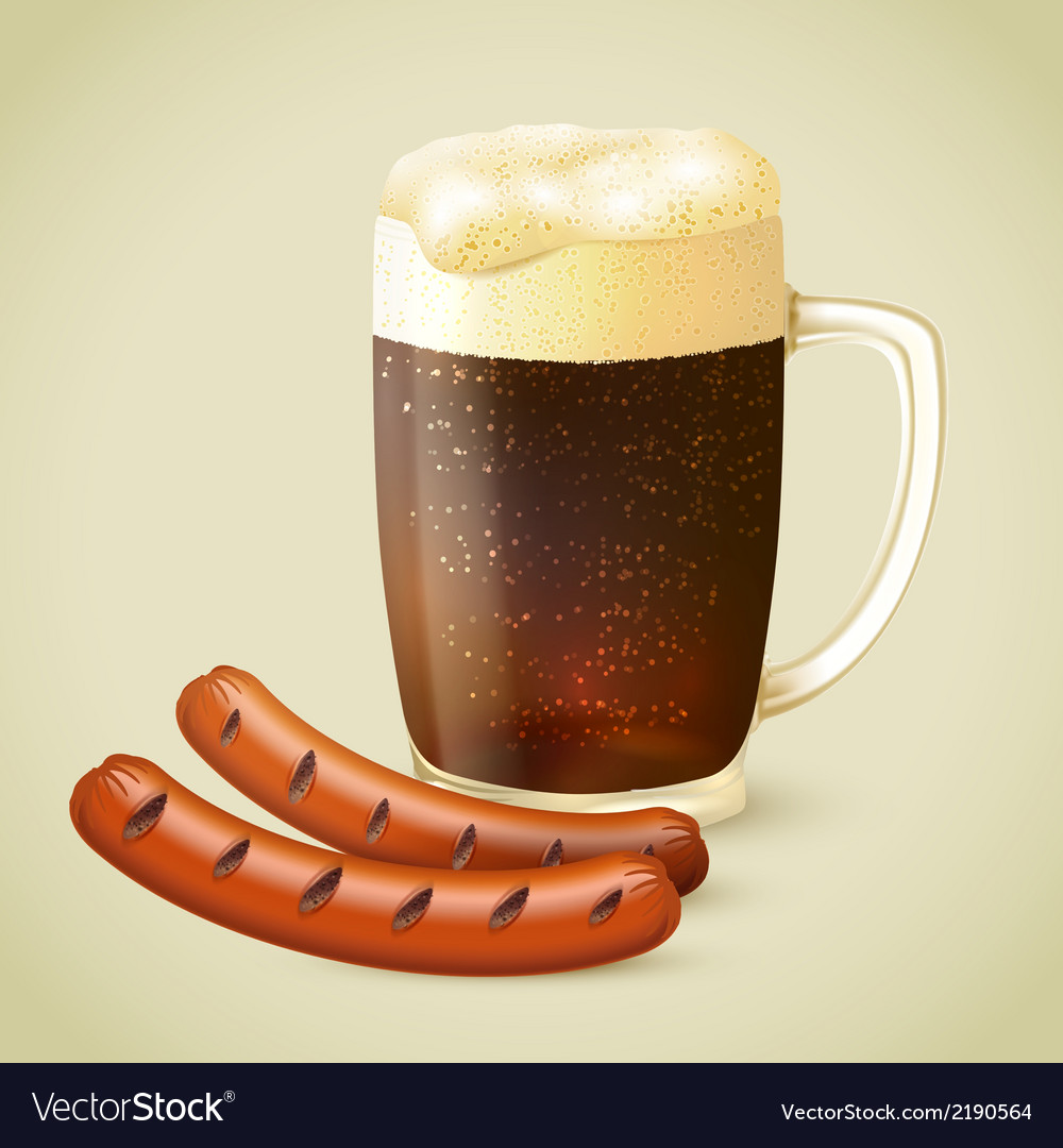 Dark beer and grilled sausage vector | Price: 1 Credit (USD $1)