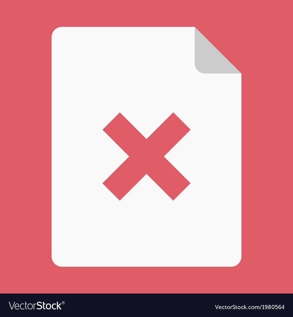 Document and cross icon vector | Price: 1 Credit (USD $1)