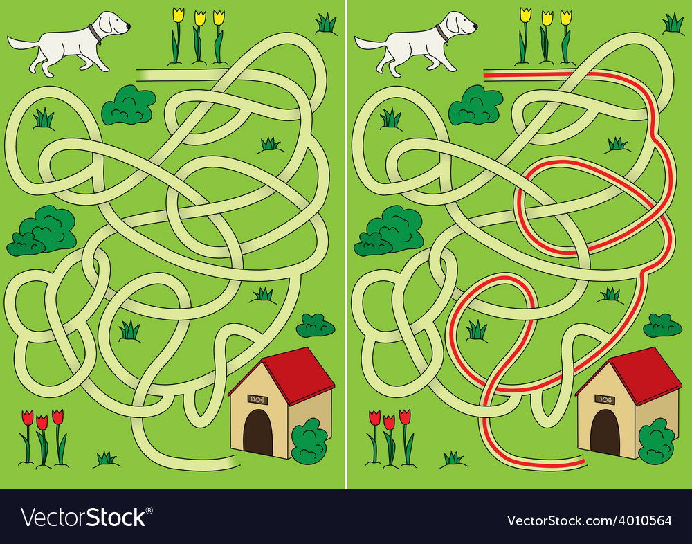 Dog maze vector | Price: 1 Credit (USD $1)