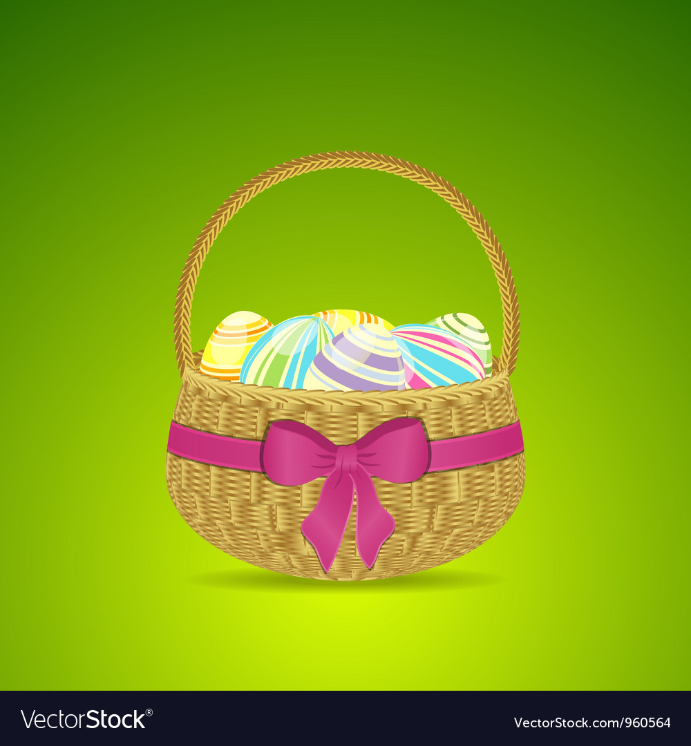Easter basket and eggs on a green background vector | Price: 1 Credit (USD $1)