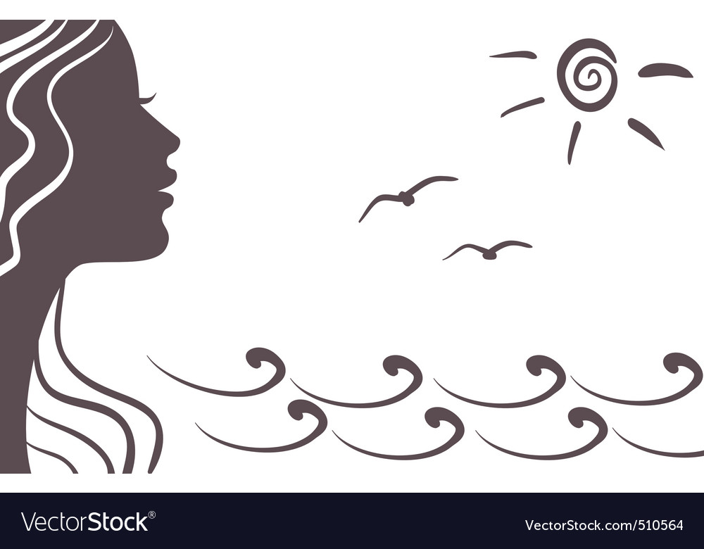 Girl silhouette on vacation vector | Price: 1 Credit (USD $1)