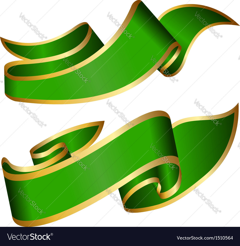 Green ribbon collection vector | Price: 1 Credit (USD $1)