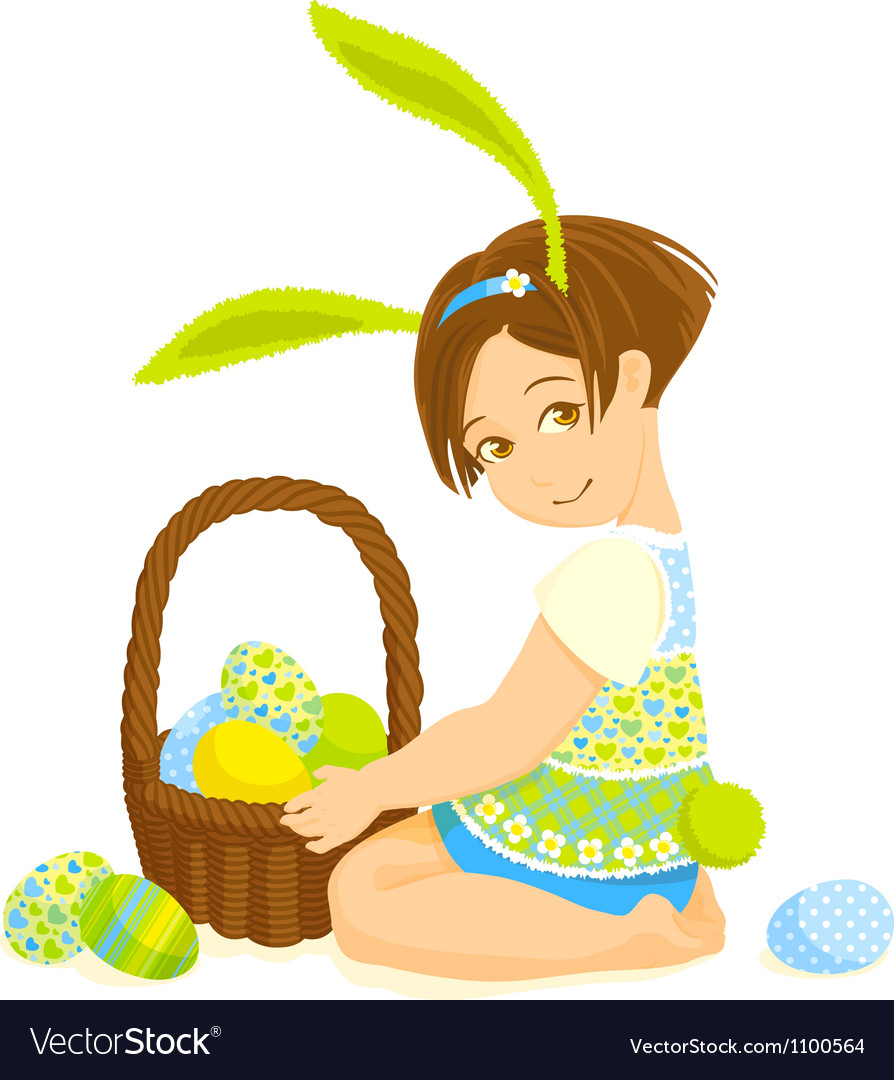 Little girl-bunny with a basket of eggs vector | Price: 3 Credit (USD $3)