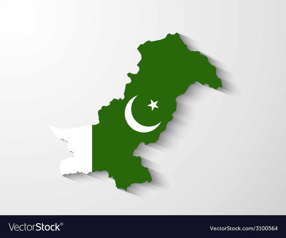Pakistan map with shadow effect presentation vector | Price: 1 Credit (USD $1)