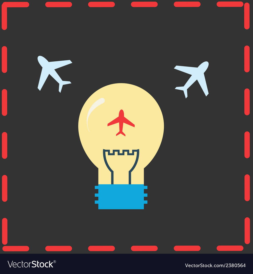 Planes and light bulb flat icons vector | Price: 1 Credit (USD $1)