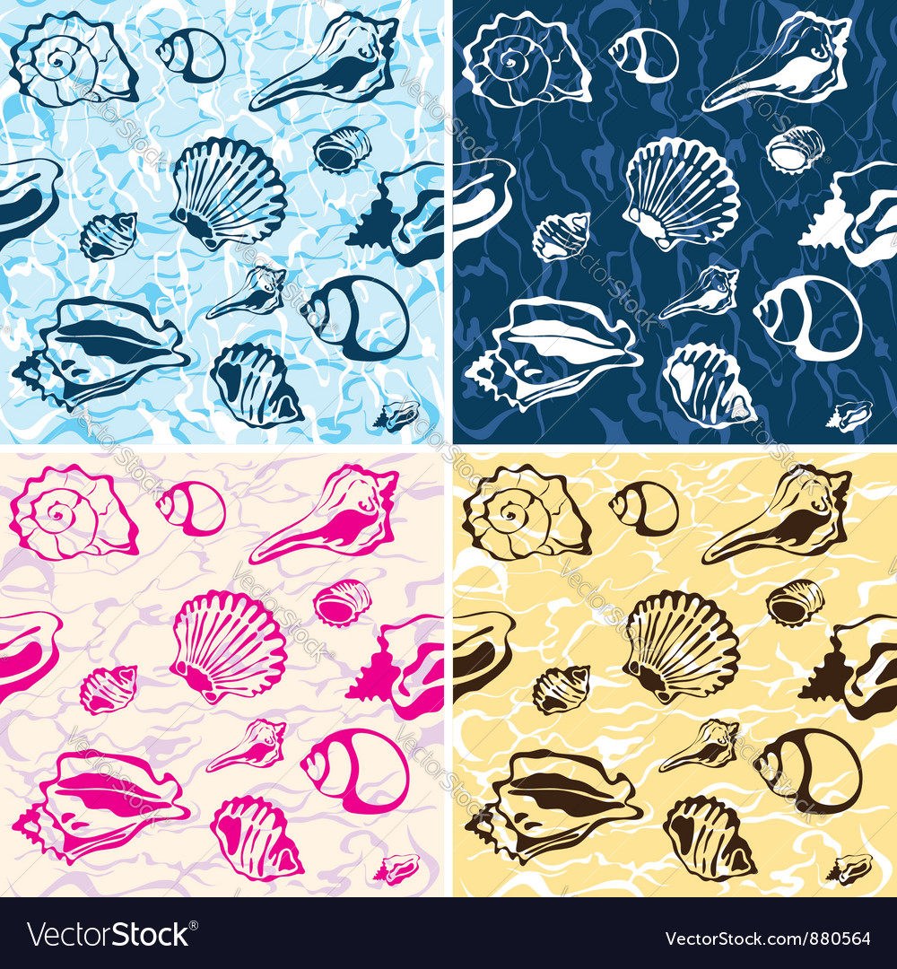 Seamless seashell background marine pattern vector | Price: 1 Credit (USD $1)