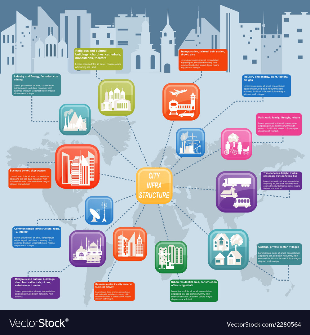 Set of icons infrastructure city vector | Price: 1 Credit (USD $1)