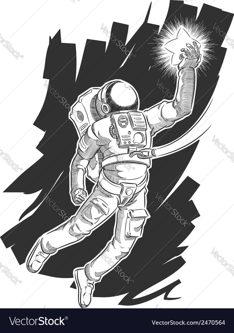 Sketch of astronaut or spaceman grabbing a star vector | Price: 1 Credit (USD $1)