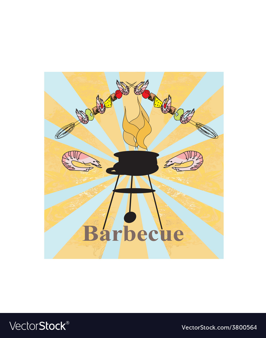 Stylized yummy shrimp kabob on the grill vector | Price: 1 Credit (USD $1)