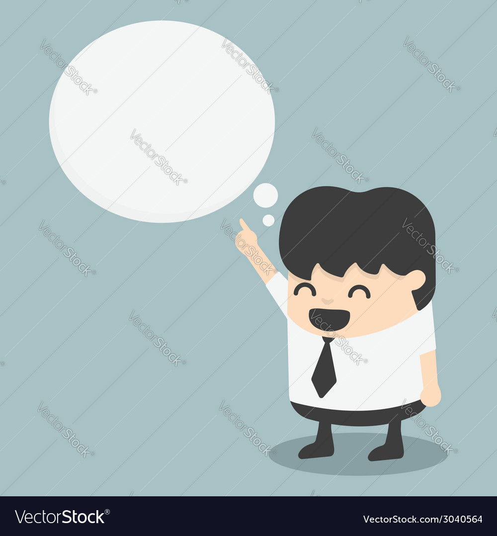 Young businessman indicate cloud text vector | Price: 1 Credit (USD $1)