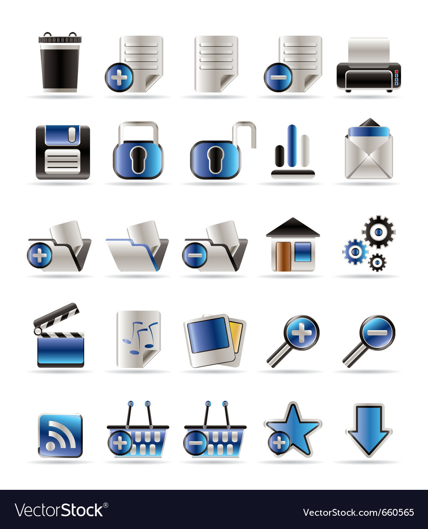 25 realistic detailed internet icons vector | Price: 1 Credit (USD $1)