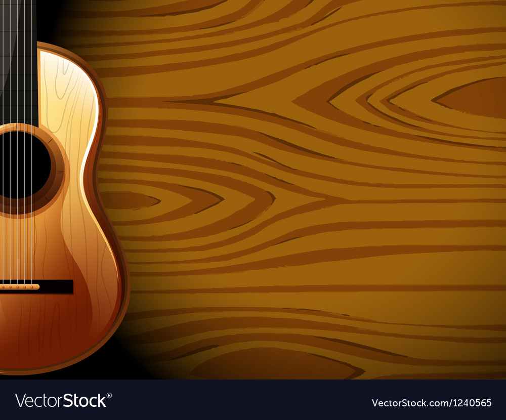 A guitar beside a wood-colored wall vector | Price: 1 Credit (USD $1)
