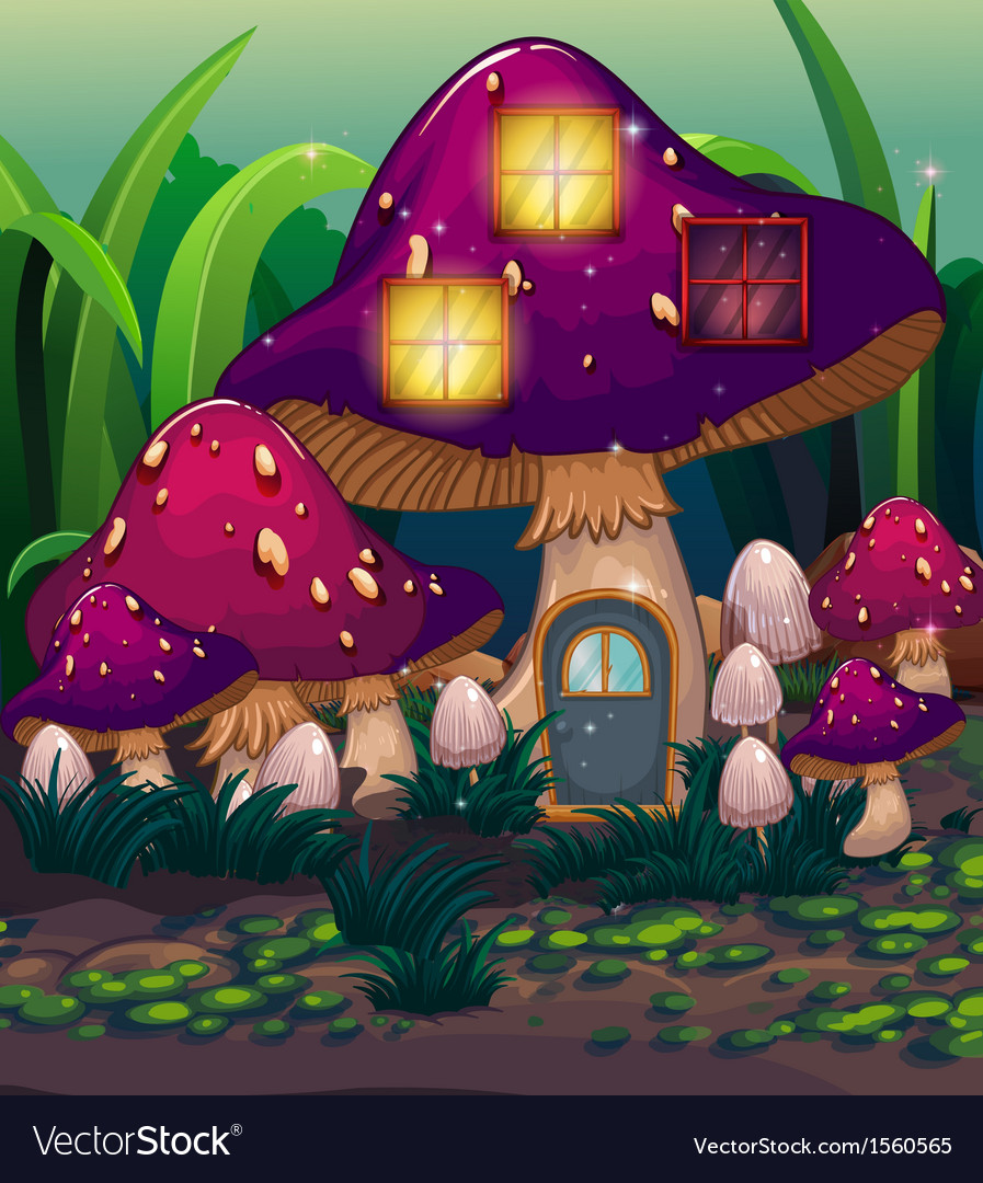 A purple mushroom house vector | Price: 3 Credit (USD $3)