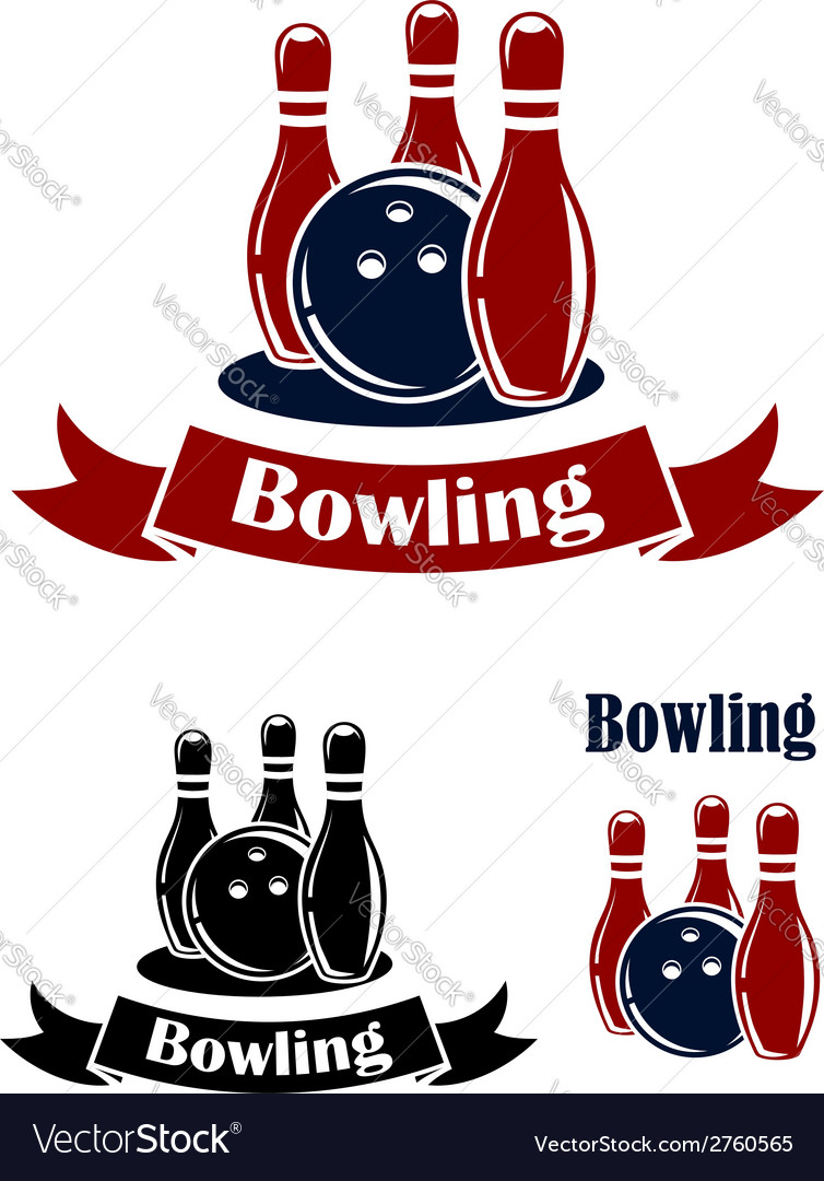 Bowling emblems with ball and ninepins vector | Price: 1 Credit (USD $1)
